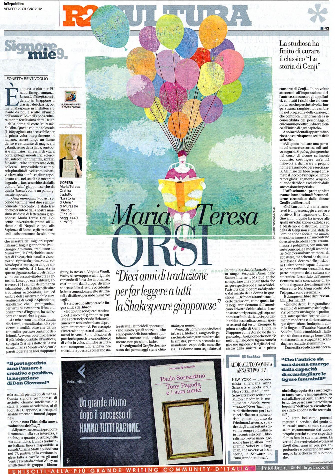 Maria Teresa Orsi su Repubblica